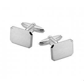 Manchetknopen Mat Gediamanteerd Zilver  12,5 mm x 16,5 mm