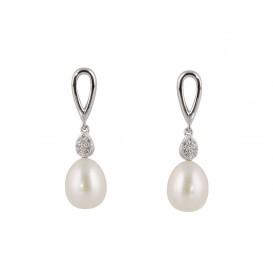 Zilveren Oorbellen met witte zoetwaterparel en zirconia 108.5408.00