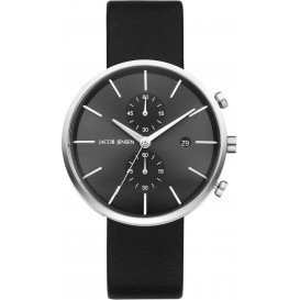 "Watch 620 Stainless Steel Sapphire Leather Strap Jacob Jensen ""linear"" Horloge"