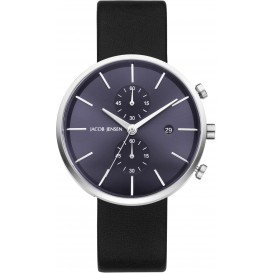 "Watch 621 Stainless Steel Sapphire Leather Strap Jacob Jensen ""linear"" Horloge"