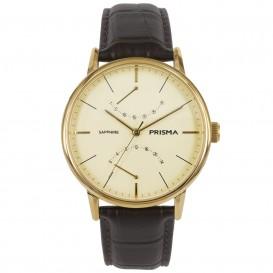 Prisma Horloge P.1602 Heren Edelstaal Datum Goud P.1602 Herenhorloge 1