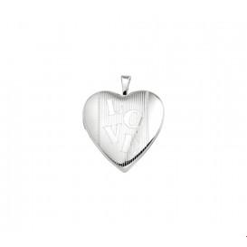 Medaillon Hart En Tekst Love Gravure Zilver Gerhodineerd  21,0 mm x 19,5 mm