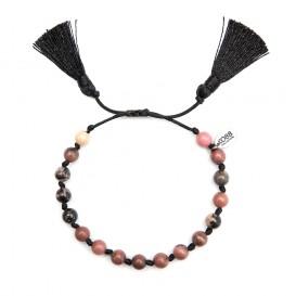 CO88 Collection 8CB-80042 - Armband met kwast - natuursteen 6 mm - schuifsluiting - one-size - zwart/roze