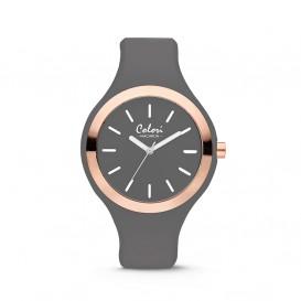 Colori Horloge Macaron staal/siliconen rosé-grijs 44 mm 5-COL501
