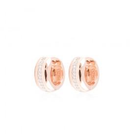 Zilveren rosé-plated klapcreolen - 14 x 7.5 mm - pave zirkonia - vierkante buis 107.0492.00 (Creolen)