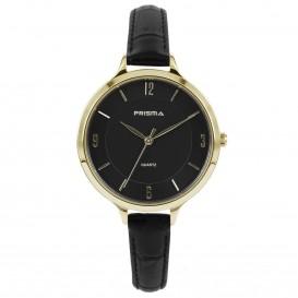 Prisma Horloge (1A)8393 Dames Stainless Steel - Zwart Leer P.8393 Dameshorloge 1