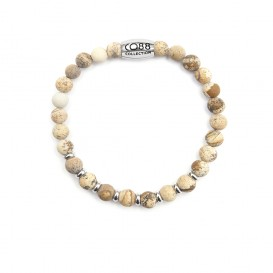CO88 Collection 8CB-90022 - Natuurstenen armband - Jaspis 6 mm - maat m - beige