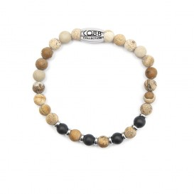 CO88 Collection 8CB-90023 - Natuurstenen armband - Jaspis en Agaat 6 mm - maat m - beige / zwart