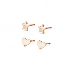 CO88 Collection Sense 8CE 70014 Stalen Oorknoppen - Set van 2 Paar - Ster en Hart 6 mm - Rosékleurig
