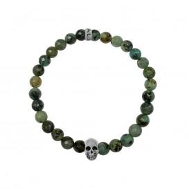Kaliber 7KB-0066L - Heren armband met beads - schedel - Africa natuursteen 6 mm - maat L (20 cm) - turquoise / zilverkleurig