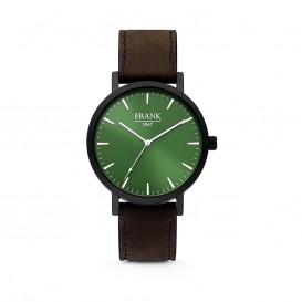 Frank 1967 7FW-0012 - Stalen horloge met lederen band - groen en donkerbruin - Ø 42 mm