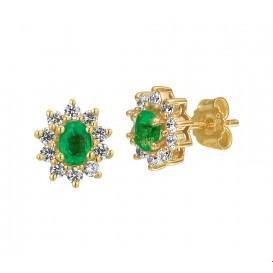 Oorknoppen Smaragd En Zirkonia Geelgoud Glanzend 8.5 mm x 7 mm