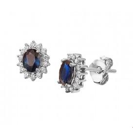 Oorknoppen Saffier Diamant 0.19ct(2x0.095) H SI Witgoud Glanzend 6 mm x 4 mm