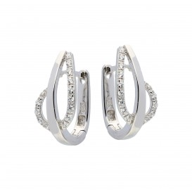 Zilveren Oorbellen klapcreolen met zirconia 107.6151.00