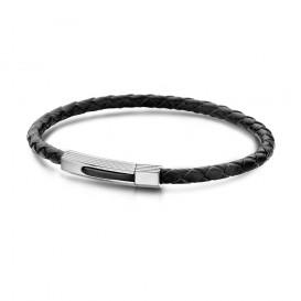 Frank 1967 7FB-0001 - Leren armband - met stalen elementen - 20 cm - zwart