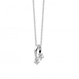 New Bling 9NB-0198 - Zilveren collier met hanger - solitair zirkonia rond 5 en 6 mm - lengte 40 + 5 cm - zilverkleurig