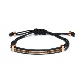 Kaliber 7KB-0079 - Heren armband - rope met stalen bar - kristal - one-size - zwart / rosékleurig