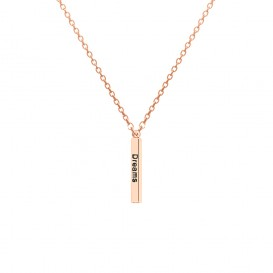 CO88 Collection 8CN-20012 - Stalen collier met hanger - jasseron - dream, love en laugh 30 mm - lengte 40 + 3 cm - rosékleurig