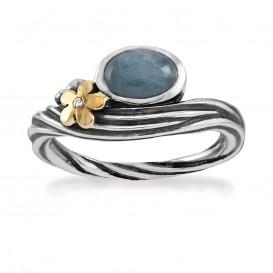 Rabinovich 70703803 Ring zilver-goud, aquamarijn en 0,005 crt briljant Maat 56