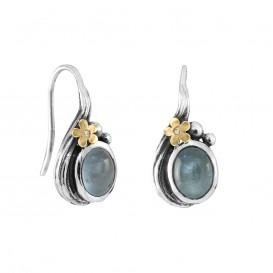 Rabinovich 70704803 Oorhangers zilver met goud, aquamarijn en 0,005 crt. briljant