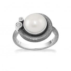 Rabinovich 71403065 Ring zilver met witte parel en witte topaas Maat 56