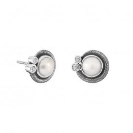 Rabinovich 71405065 Oorbellen zilver met witte parel en witte topaas