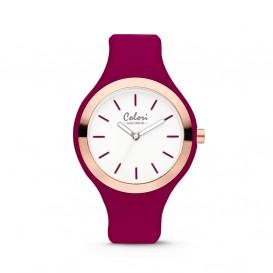 Colori Macaron 5-COL509 - Horloge - siliconen band - bordeaux rood - 44 mm
