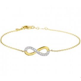 Armband Goud Infinity Zirkonia 1,0 mm 17,5 + 1 cm