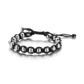 Frank 1967 Armband Rope Staal zwart-zilverkleurig 7FB-0093