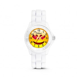 Colori Happy Smile 5-CLK079 - Kinderhorloge - siliconen band - wit - 30 mm