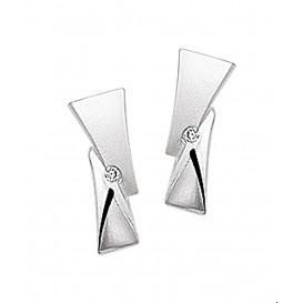 Oorknoppen Diamant 0.014 Ct. Poli/mat Zilver Gerhodineerd Mat Glanzend 12 mm x 5 mm