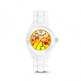 Colori Happy Smile 5-CLK077 - Kinderhorloge - siliconen band - wit - 30 mm
