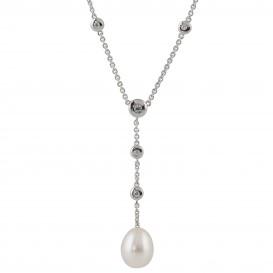 Classics 102.0625.43 Ketting zilver met witte parel en zirconia 43-45 cm