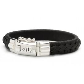 SILK Jewellery Armband zilver/leder zwart 21 cm 742BLK