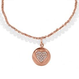 CO88 Collection 8CN-15004 - Collier van staal en kristal - zirkonia hart 15 mm - lengte 42 + 5 cm - wit / rosékleurig