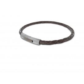 Frank 1967 - 7FB-0010 - Leren armband - met stalen elementen - 20 cm - Bruin