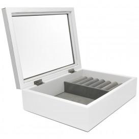 Zilverstad 7624130 Sieradenbox met venster zilverkleurig-wit 22,7 x 17,6 x 6,9 cm