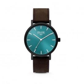 Frank 1967 7FW-0009 - Stalen horloge met lederen band - blauw en donkerbruin - Ø 42 mm