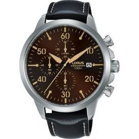 Lorus Herenhorloge Chronograaf staal/leder RM351EX9