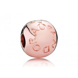 Pandora Clip-Stopper bedel zilver-rosékleurig Pandora Logo 781015