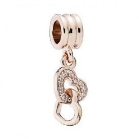 Pandora Rose Hangbedel zilver-rosékleurig Dubbele Harten 781242CZ