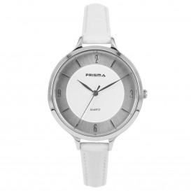 Prisma Horloge (1A) 8390 Dames Stainless Steel - Wit Leer P.8390 Dameshorloge 1
