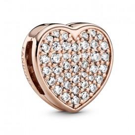 Pandora Rose Reflexions 788684C01 Bedel/Clip zilver rosekleurig Pave Heart