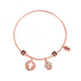CO88 Collection 8CB-25009 - Stalen bangle met bedels - open kruis en Fatima's hand - one-size - rosékleurig
