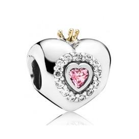 Pandora Bedel zilver-goud 'Hart met Kroontje' 791375PCZ