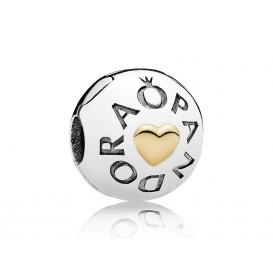 Pandora Clip-Stopper bedel zilver-goud Pandora Logo 796219
