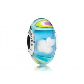 Pandora bedel zilver-muranoglas Rainbow and Clouds 797013