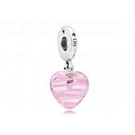 Pandora Hangbedel zilver Pink Ribbon Heart 797069