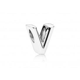 Pandora Bedel zilver Letter V 797476