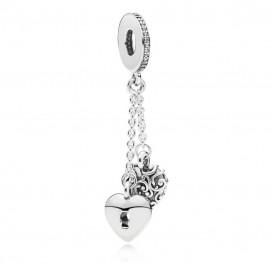 Pandora Hangbedel 797642CZ zilver Lock and Heart